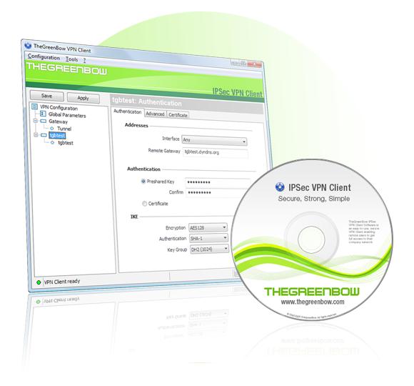 Univerzalni VPN odjemalec z IPSec in SSL zmogljivostjo za prenosni in namizni računalnik, z Windows operacijskim sistemom